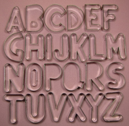 alphabet upper case large 2 14 by fiesta includes 25 letter cutters m and w are the same cutter and cutter pieces for the centers