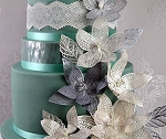Fantasy Flower Petals and Leaves Large Sugar Dress Cake Lace Mat By Claire Bowman