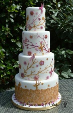Oriental Blossoms Birds Sugar Dress Cake Lace Mat By Claire Bowman