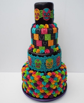 Day of The Dead Sugar Dress Cake Lace Mat By Claire Bowman