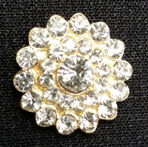 Brooch BLING Button Gold
