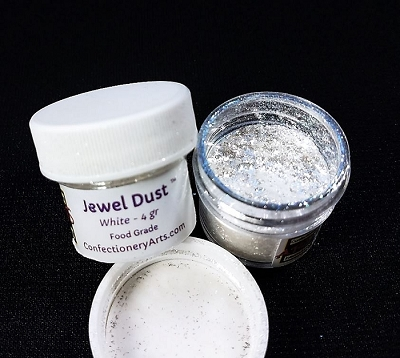 Jewel Dust White 4g. By Confectionary Arts International