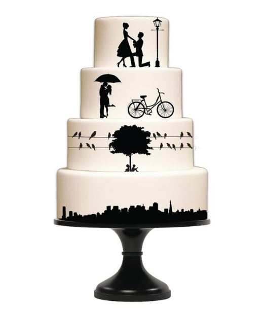 Wedding and City Elements Silhouette Mat By Silho Cake