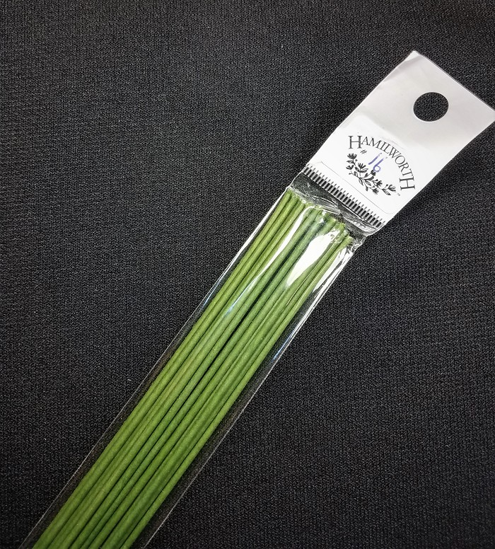 Wire #16 Green, approximately 25 paper covered wires per package. These wires are the highest quality and are great for gumpaste work.