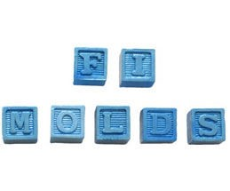 "Alphabet Blocks each measure 1/2"" x 1/2"" x 1/2"". The mold includes every letter in the alphabet. By First Impressions."