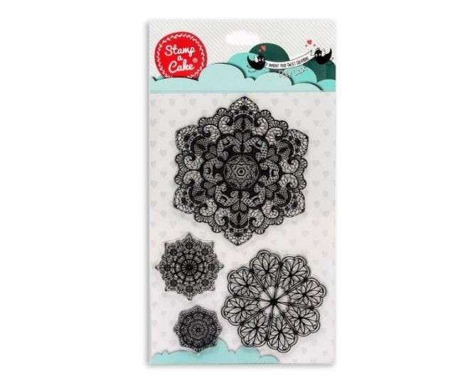 "Doily Lace Stamp Set, by Stamp a Cake, contains 4 different doily type stamps. The largest stamp measures 4 1/4"" x 4/14"" and the smallest stamp measures 1 3/8"" x 1 3/8"". Stamp a Cake allows you to transfer gorgeous designs to fondant cakes, cookies, and cupcakes using food grade silicone and edible ink. Each Stamp a Cake design stamp is designed to be used specifically for confectionery use and only with Stamp a Cake edible ink. Black, gold, silver and white are the current available colors that can be used. The white Stamp a Cake color is used as a base color and it can be colored the shade of your choice by mixing in small amounts of coloring gel to achieve the desired color."