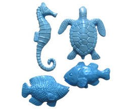 "Small Sea Creatures, Set of 4. The sea turtle measures 2"" x 1 3/4"". The sea horse measures 2 1/2"" x 3/4"". The two fish measure approximately 1 1/2"" x 1"". By First Impressions."
