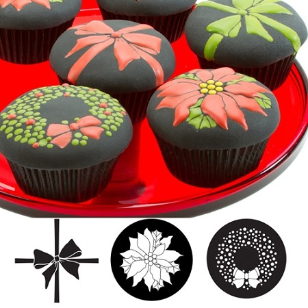 Christmas Cupcake and Cookie Texture Tops Set of 3 by Autumn Carpenter. Decorate cookies and cupcakes with these detailed texture mats. Instructions included detailing uses for rolled fondant and icings, how to add contrasting colors, helpful hints, and cleaning care.