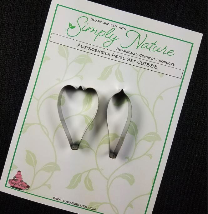 "Alstroemeria Petal Cutter Set (Stainless Steel) by Simply Nature Botanically Correct Products®, was designed by Jason Dontz and Jennifer Dontz of Sugar Delites, and creates the most realistic Alstroemeria petal interpretations possible. The Alstroemeria petal cutters each measure 1 5/8"" x 1 1/8"" and 1 ¾"" x 5/8"". This cutter set is designed to be paired with the Simply Nature Botanically Correct Alstroemeria Petal Veiner Set (VEI080). When paired together, Simply Nature brand cutters and veiners will create a detailed botanically correct replication of nature."