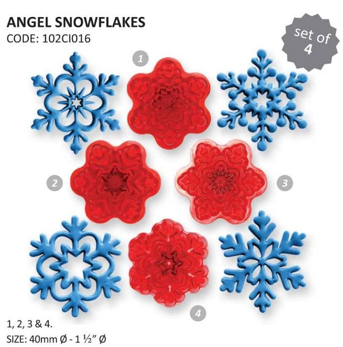 "Snowflakes Angel Set, by JEM, creates 4 different designed snowflakes. Each snowflake measures 1 1/2"" x 1 1/2"". Instructions included."