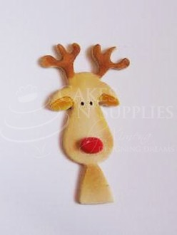 "Reindeer with Antlers measures 4"" x 2"". Finished photo and product by:  Cakes by Ximena, 2 pc. set."