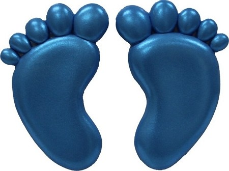 "Large Baby Feet by First Impressions. Each baby foot measures 1 3/4"" x 3"" x 1/8""."