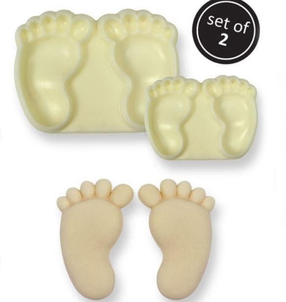"Baby Feet Pair Set of 2 By JEM is a plastic ""Pop It"" mold that creates 2 different sized baby feet pair sets. The small baby foot in the baby foot pair measures 1"" x 5/8"" and the foot in the large baby foot pair measures 1 1/2"" x 1"". These pop it molds are easy to use and complete instructions are included."
