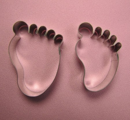 "Baby Footprint Pair Medium by Edith De La Flor. The larger Baby Footprint measures 2 1/2"" x 2"" and the smaller Baby Footprint measures 2 3/8"" x 1 1/2""."