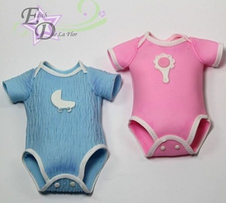 "Baby Onesies Pair, by Edith De La Flor, each measure approximately 4 1/2"" x 3 1/4"" when finished."