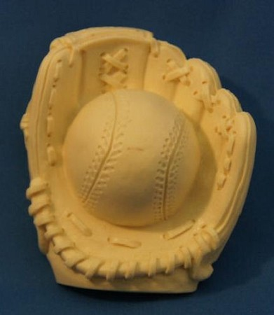 "Baseball In Baseball Glove, by DTC, measures 3 1/4"" x 2 3/4"" x 1 3/8"" when finished."