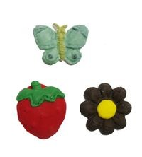 "The Butterfly, Berry, and Flower all measure approximately 1"" x 1""."