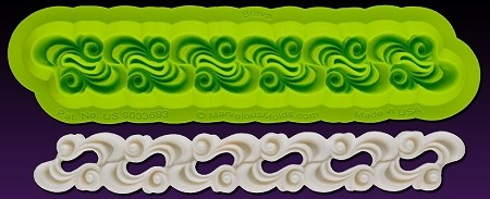 "Brava Border Mold, by Marina Sousa and Chef Dominic Palazzolo from Marvelous Molds, measures 6 5/8"" x 7/8""."