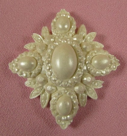 "Brooch Diamond Fancy, by Jennifer Dontz, measures 2 1/2"" x 2 1/4"" x 3/4""."