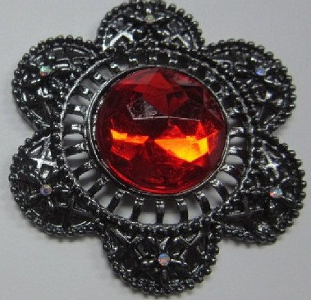 "Brooch Scalloped Facet Jewel, by Clearview Molds, measures 1 3/4"" x 1 3/4"" x 3/8""."