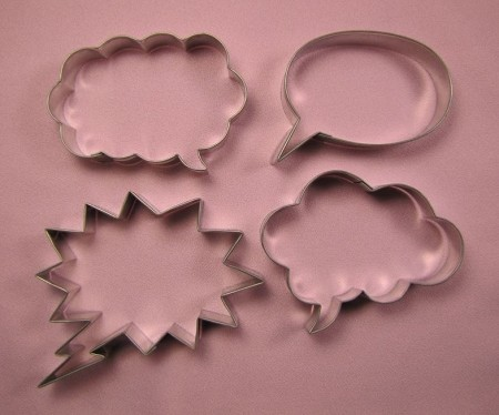 "Bubble Talk Set of 4, by Fiesta, includes 4 different shaped ""Voice Bubble"" cutters. Each Bubble cutter measures approximately 3 1/2"" x 2 1/2""."