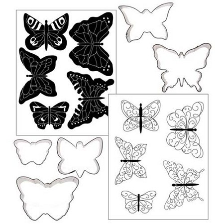 "Butterfly Cookie Cutter Texture Set of 5 by Autumn Carpenter. This Butterfly set includes 5 different metal Butterfly cutters and 2 different impression mat designs for each. The largest Butterfly measures 3 3/8"" x 2 1/2"" and the smallest Butterfly measures 2 1/4"" x 1 1/2""."