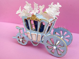 "Fantasy Carriage and finished photo by Ximena, measures approximately 4"" x 5 3/4"" x 2 1/4"". Photo and product by:  Cakes By Ximena"