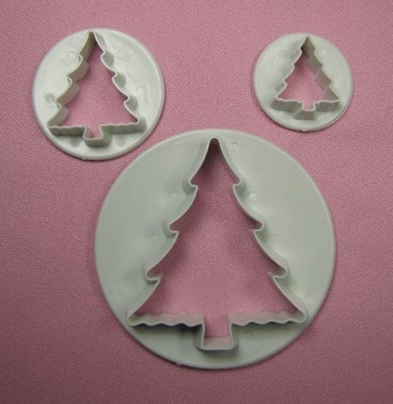 "Christmas Tree Set of 3 includes 3 different sized Christmas Tree cutters. From the largest to smallest, the Christmas Tree cutters measure 2 1/2"" x 2 1/8"", 1 1/2"" x 1 1/4"", and 1"" x 7/8""."