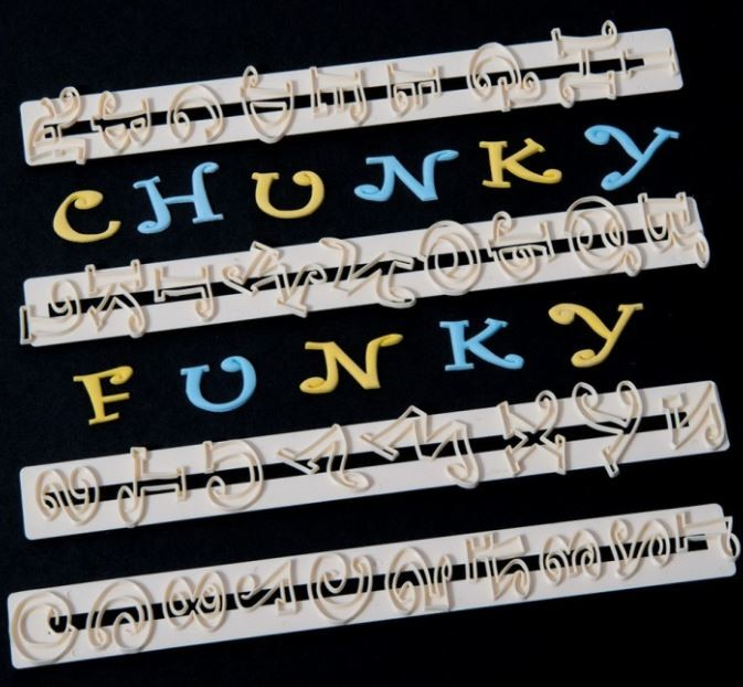 "Alphabet & Numbers Set 2 cm Chunky Funky Tappits FMM each measure approximately between 3/4"" x 1"" tall."