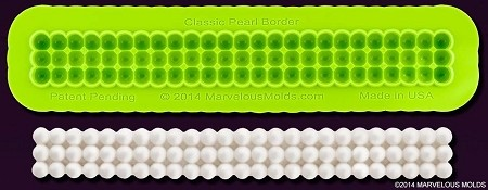 "Classic Pearl Border Mold, by Marvelous Molds, measures 6 1/4"" x 3/4"" and includes Marvelous Molds' patent pending self ""trimming blade."""