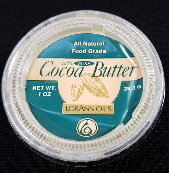 Cocoa Butter 1 oz. By LorAnn Oils. Cocoa Butter is used to mix with dusts colors for painting, specifically for chocolate. Cocoa Butter can be mixed with petal, luster, and highlighter dusts.