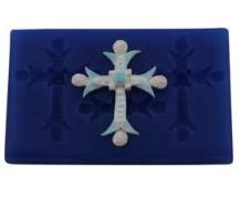 "Cross Bejeweled Medium Set, by First Impressions, creates 3 of the same cross designs that each measure 2"" x 1 1/2""."