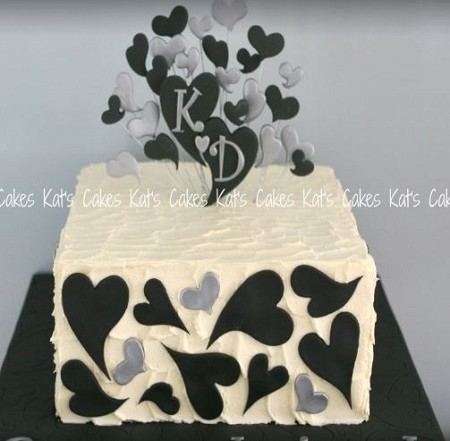 "Modern Hearts Set of 9. Sizes range from 2 1/2"" in diameter to 1"" diameter. Finished cake by Kat Moss."