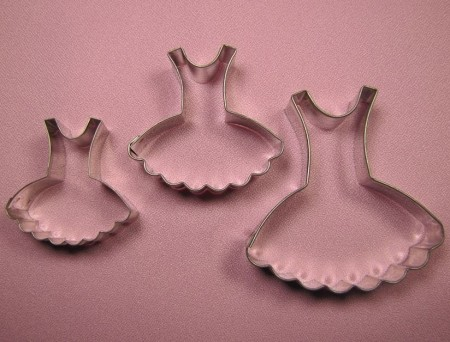 "Baby Dress Set of 3, by Fiesta, includes 4 different sized Baby Dress cutters. The largest Baby Dress cutter measures 2 1/2"" x 3"" and the smallest Baby Dress cutter measures 1  1/2"" x 1 3/4""."