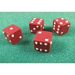 "Life sized Dice Set of 4, by Jennifer Dontz. Each die measures approximately 1/2"" x 1/2"" x 1/2"". Each die has one flat side with no number on it."