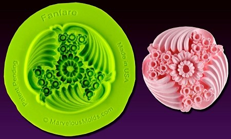 "Fanfare Medallion Mold, by Chef Dominic Palazzolo and Marvelous Molds, measures 1 1/2"" x 1 1/2"". This mold is part of the Royal Garden Mold Collection by Marvelous Molds."