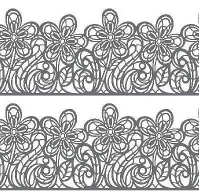 "Flower Line Sugar Dress Lace Mat, by Martellato, includes 3 mold cavities. Each cavity measures 3 1/2"" x 16"". This Flower Line Mat is recommended for a spreadable paste, such as Sugar Dress. Additional shipping charges may apply."