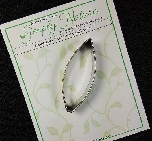 "Frangipani Leaf Cutter Small by Simply Nature Botanically Correct Products, was designed by Jason Dontz and Jennifer Dontz of Sugar Delites, and creates the most realistic Frangipani leaf interpretation possible. The small Frangipani leaf cutter measures 2 3/4"" x 1 1/8"". This cutter is designed to be paired with the Simply Nature Botanically Correct Frangipani Leaf Veiner Small (VEI173). When paired together, Simply Nature brand cutters and veiners will create a detailed botanically correct replication of nature."