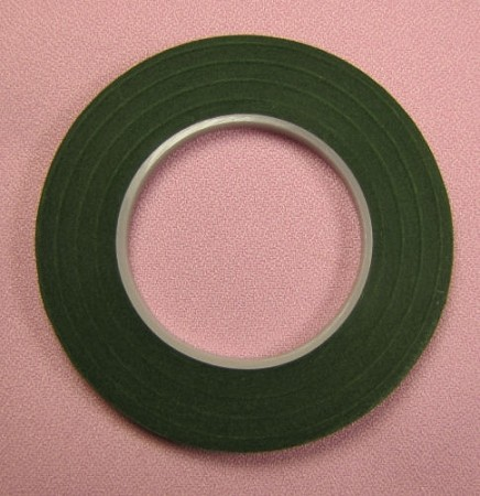 Dark Green Hamilworth high quality floral tape-1/4 inch (half width). Saves you time in making those delicate, taped stems. So convenient!