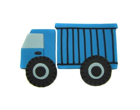 "Dump Truck, by Jennifer Dontz, measures 4 3/4"" x 3 1/2"" when completed."