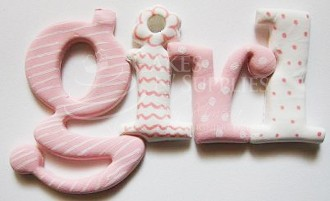 "Interlocking Girl Letters. Finished photo and prouct by:  Cakes  by Ximena. When the whole word ""girl"" is spelled out, it measures 5 1/4"" long x 2 1/2"" on the largest letter."