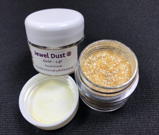 Gold Jewel Dust, by CAI, contains 4 grams of Jewel Dust. This Jewel Dust is on fire and is absolutely brilliant, like a diamond! Jewel Dust is made of all FDA approved ingredients and 100% edible.  It will provide bling and sparkle to any project.