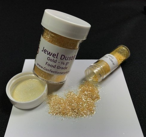 Gold Jewel Dust, by CAI, contains 14 grams of Jewel Dust. This Jewel Dust is on fire and is absolutely brilliant, like a diamond! Jewel Dust is made of all FDA approved ingredients and 100% edible.  It will provide bling and sparkle to any project.