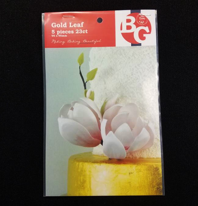 "Gold Leaf (Edible) Sheets 23 ct. pack of 5 by Bake Group. Each edible gold leaf sheet measures 3 3/4"" x 3 3/4""."