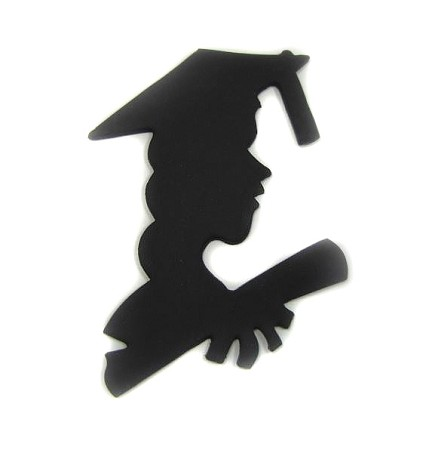 "Graduation Diploma Girl, by Jennifer Dontz, measures 5 3/4"" x 4""."