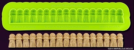 "Grand Tassel Border Mold, by Marvelous Molds, measures 6 1/4"" x 3/4"" and includes Marvelous Molds' patent pending self ""trimming blade."""