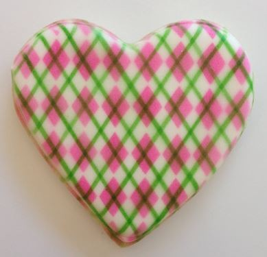 "Harlequin Mini Design Stencil, by The Cookie Countess, creates a Harlequin design that measures 4 3/4"" x 4 1/2"". Finished cookie by Hillary Ramos. This stencil creates the pink design on the cookie and not the green lines. The green lines are a separate stencil."