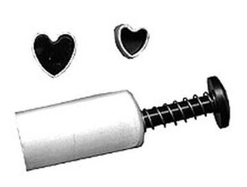 "Heart Plunger Set of 3. The largest heart plunger measures 1/2"" x 1/2"", the medium sized heart plunger measures 3/8"" x 3/8"", and the smallest heart plunger measures 1/4"" x 1/4"". Instructions included."