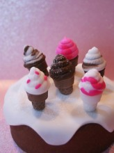 "Really cute and detailed! 2 cavity, food grade silicone mold. One cavity is the cone, and the other is the ice cream top. Size of completed ice cream cone: 1 5/8"" tall x 3/4"" wide. The mold can be used with gumpaste, fondant, isomalt, chocolate. Tip: combine 2 fondant colors for a swirled creation! Great topper for cupcakes!Finished photo by Cake Structure."