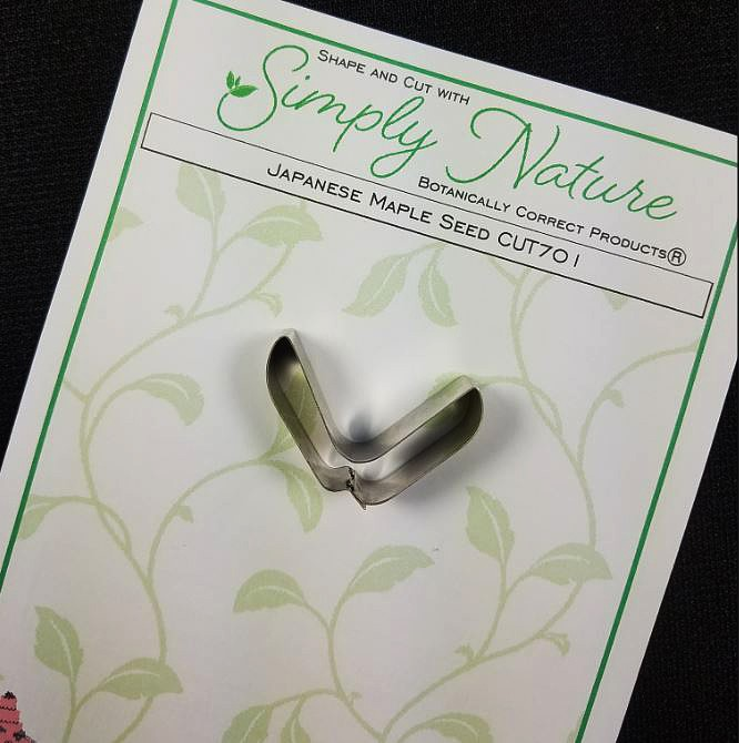 "Japanese Maple Seed Cutter by Simply Nature Botanically Correct Products®, was designed by Jason Dontz and Jennifer Dontz of Sugar Delites, and creates the most realistic Japanese Maple seed interpretation possible. The Japanese Maple seed cutter measures 1 3/8"" x 7/8"". This cutter is designed to be paired with the Simply Nature Botanically Correct Japanese Maple Seed Veiner (VEI181). When paired together, Simply Nature brand cutters and veiners will create a detailed botanically correct replication of nature."